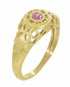Art Deco Filigree Pink Sapphire Ring in 14 Karat Yellow Gold - Item R428YPS - Image 1
