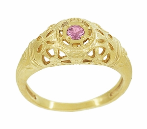 Art Deco Filigree Pink Sapphire Ring in 14 Karat Yellow Gold - Item R428YPS - Image 2