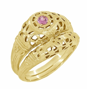 Art Deco Filigree Pink Sapphire Ring in 14 Karat Yellow Gold - Item R428YPS - Image 4
