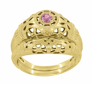 Art Deco Filigree Pink Sapphire Ring in 14 Karat Yellow Gold - Item R428YPS - Image 5
