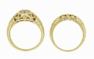 Art Deco Filigree Pink Sapphire Ring in 14 Karat Yellow Gold - Click to enlarge