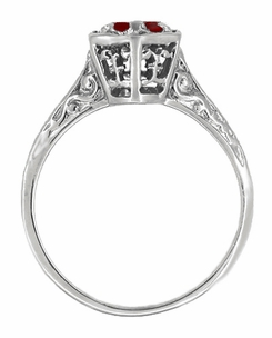 Art Deco Ruby Filigree Engagement Ring in 14 Karat White Gold - Click to enlarge