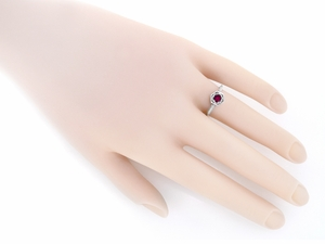 Art Deco Ruby Filigree Engagement Ring in 14 Karat White Gold - Item R180W33R - Image 2