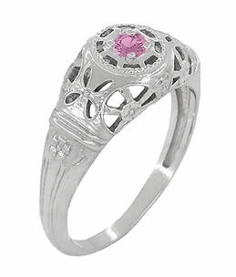 Art Deco Filigree Pink Sapphire Ring in 14 Karat White Gold - Click to enlarge