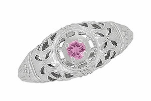 Art Deco Filigree Pink Sapphire Ring in 14 Karat White Gold - Item R428WPS - Image 4