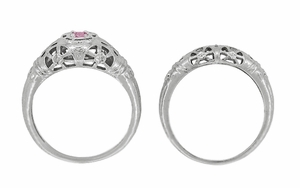 Art Deco Filigree Pink Sapphire Ring in 14 Karat White Gold - Item R428WPS - Image 8