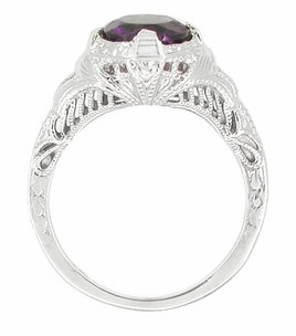 Art Deco Engraved Filigree Amethyst Engagement Ring in 14 Karat White Gold - Click to enlarge