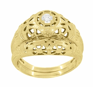 Art Deco Filigree Diamond Engagement Ring in 14 Karat Yellow Gold - Item R428Y - Image 5