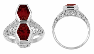 Love Duet Almandite Garnet Filigree Ring in 14 Karat White Gold - Click to enlarge