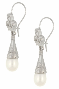 Victorian Pearl Drop Earrings in 14 Karat White Gold - Item E125W - Image 1