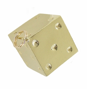 Large Vintage Lucky Dice Charm in 14 Karat Gold - Click to enlarge