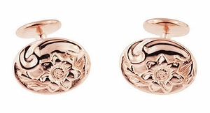 Rose Gold Victorian Sunflower Cufflinks in Sterling Silver Vermeil - Click to enlarge
