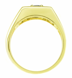 Men's Royal Blue Sapphire Ring in 14 Karat Yellow Gold - Click to enlarge