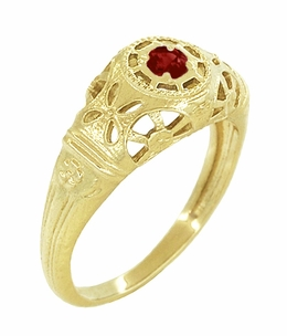 Art Deco Filigree Ruby Ring in 14 Karat Yellow Gold - Click to enlarge