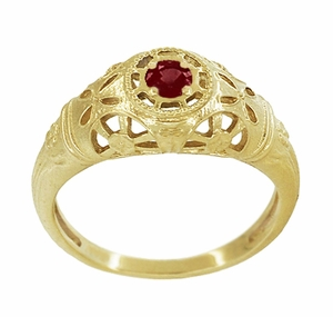 Art Deco Filigree Ruby Ring in 14 Karat Yellow Gold - Item R698Y - Image 2