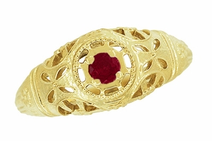 Art Deco Filigree Ruby Ring in 14 Karat Yellow Gold - Item R698Y - Image 3
