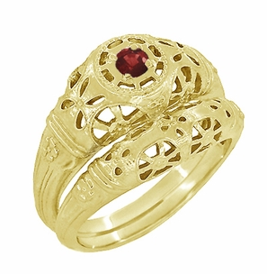 Art Deco Filigree Ruby Ring in 14 Karat Yellow Gold - Item R698Y - Image 4