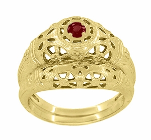 Art Deco Filigree Ruby Ring in 14 Karat Yellow Gold - Item R698Y - Image 5