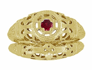 Art Deco Filigree Ruby Ring in 14 Karat Yellow Gold - Item R698Y - Image 6