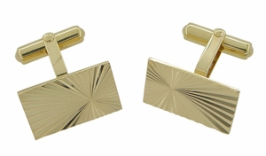 Mid-Century Antique Starburst Cufflinks in 14 Karat Gold - Item GCL154 - Image 1