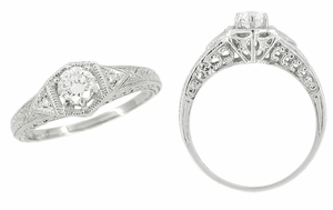 Art Deco Filigree Antique Platinum Engagement Semimount Ring Design for a 1/3 Carat Diamond - Click to enlarge