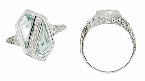 Art Deco Blue Topaz Royal Shield Filigree Ring in 14 Karat White Gold - Click to enlarge