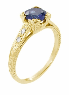 Art Deco Blue Sapphire and Diamonds Engraved Engagement Ring in 18 Karat Yellow Gold - Click to enlarge
