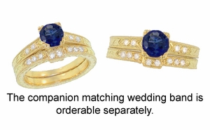 Art Deco Blue Sapphire and Diamonds Engraved Engagement Ring in 18 Karat Yellow Gold - Item R283Y - Image 3