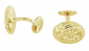 Victorian Sunflower Cufflinks in Solid Sterling Silver with Yellow Gold Vermeil - Item SCL224Y - Image 1