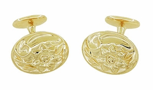 Victorian Sunflower Cufflinks in Solid Sterling Silver with Yellow Gold Vermeil - Item SCL224Y - Image 2