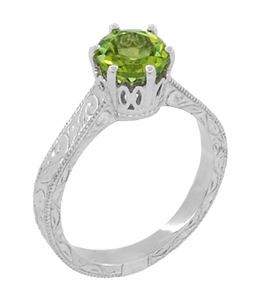 Art Deco Crown Filigree Scrolls Peridot Engagement Ring in Platinum - Click to enlarge