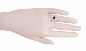 Art Deco Royal Crown 1 Carat Blue Sapphire Engraved Engagement Ring in Platinum, Hand Carved Heirloom Sapphire Engagement Band - Item R460PS - Image 5