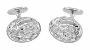 Antique Style Victorian Sunflower Cufflinks in Sterling Silver - Click to enlarge