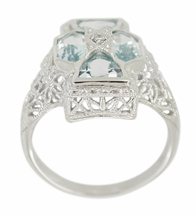 Art Deco Filigree Happy Family 4 Stone Blue Topaz and Diamond Filigree Ring in 14 Karat White Gold - Click to enlarge