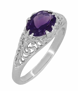 Edwardian Oval Amethyst Filigree Engagement Ring in Sterling Silver - Item R1125A - Image 1