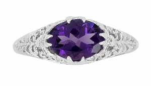 Edwardian Oval Amethyst Filigree Engagement Ring in Sterling Silver - Item R1125A - Image 3