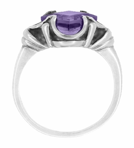 Victorian Square Emerald Cut Lilac Amethyst Ring in 14 Karat White Gold - February Birthstone - Click to enlarge