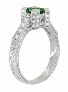 Art Deco 1/2 Carat Princess Cut Tsavorite Garnet and Diamond Engagement Ring in 18 Karat White Gold - Item R661TS - Image 2