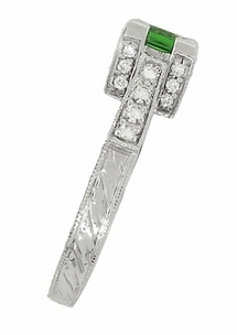 Art Deco 1/2 Carat Princess Cut Tsavorite Garnet and Diamond Engagement Ring in 18 Karat White Gold - Item R661TS - Image 3