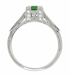 Art Deco 1/2 Carat Princess Cut Tsavorite Garnet and Diamond Engagement Ring in 18 Karat White Gold - Item R661TS - Image 4