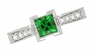 Art Deco 1/2 Carat Princess Cut Tsavorite Garnet and Diamond Engagement Ring in 18 Karat White Gold - Click to enlarge