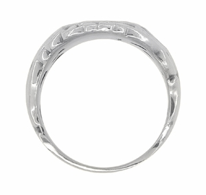 Mens Art Nouveau Oval Signet Ring in 14 Karat White Gold - Click to enlarge