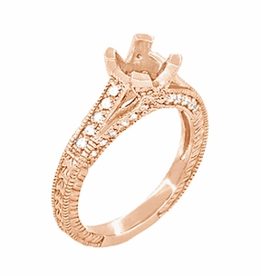 X & O Kisses 3/4 Carat Diamond Engagement Ring Setting in 14 Karat Rose Gold - Click to enlarge