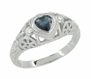 Art Deco Heart Sapphire and Diamond Filigree Ring in 14 Karat White Gold - Item R1119 - Image 1