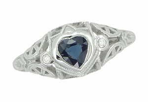 Art Deco Heart Sapphire and Diamond Filigree Ring in 14 Karat White Gold - Click to enlarge