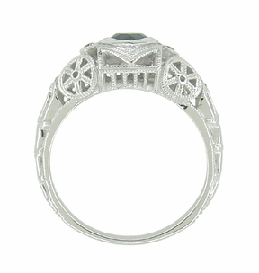 Art Deco Heart Sapphire and Diamond Filigree Ring in 14 Karat White Gold - Item R1119 - Image 4