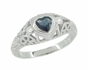 Art Deco Heart Sapphire and Diamond Filigree Ring in 14 Karat White Gold - Item R1119 - Image 5