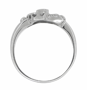 Antique Retro Moderne Scroll Bow Diamond Ring in 14 Karat White Gold - Item R774 - Image 1