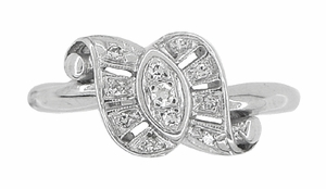 Antique Retro Moderne Scroll Bow Diamond Ring in 14 Karat White Gold - Item R774 - Image 2