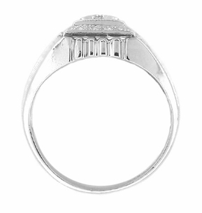 Mens Art Deco Blue Diamond Ring in 14 Karat White Gold - Click to enlarge